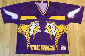 Vintage 90s Wilson MINNESOTA VIKINGS jersey L purple NFL football full print