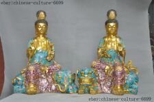old Chinese bronze Cloisonne 24k gold Gilt wenshu Manjushri Samantabhadra statue