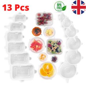 Slidaro 13 Pcs Reusable Silicone Stretch Food Bowl Wraps Storage Lids Cover FDA