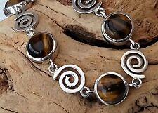28.8g Gorgeous Real Tigers Eye Gemstone Sterling Silver Spiral TBar Bracelet 925