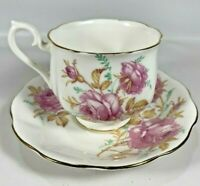 Royal Albert Bone China England Vintage Tea Cup Saucer Pink Floral Roses