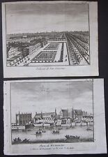 1743 LONDRA WESTMINSTER -SAN GIACOMO 2 etchings Salmon St. James's Palace London