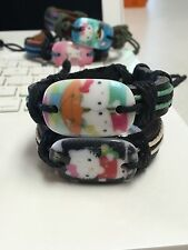 "LOT OF 26 Hello Kitty Leather & Hemp Bracelets 8""-13"" Adjustable Multi colors"