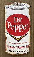 VINTAGE DR PEPPER PORCELAIN SODA POP SOFT DRINK BEVERAGE OIL GAS METAL CAN SIGN