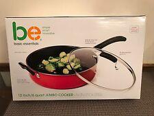 "Basic Essentials ~ 12"" / 6 Quart Non-Stick Jumbo Cooker ~ Red  ~ New in Box"