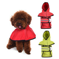 Pet Dog Puppy Rain Coat Raincoat Waterproof Jacket Rainwear Hood Reflective