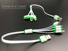 4 adapter cable charger mini usb, samsung, iphone, type b mini 2 pack