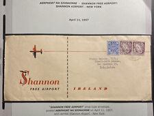 1957 Shannon Free Airport Ireland Airmail Cover To Key Gardens NY Isa