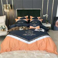 Blue Orange Splicing Embroidery Satin Like Silk Cotton Bedding Set Duvet Cover