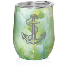Marble Stemless Wine Tumbler Coffee Travel Mug Cup Glass Anchor With Rope