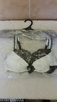 Ann Summers Bow Boudoir Bra Ivory & Black 32B  New With Tags In Packet + Hanger