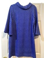Tyler Boe Royal Blue White Grecian Geometric Sheath Bell Sleeve Dress Small NWOT