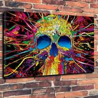 """Psychedelic Skull Printed Box Canvas Picture A1.30""""x20""""Deep 30mm Frame Halloween"""