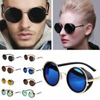 Women Men Fashion Retro Style Round Glasses Cyber Goggles Steampunk Sunglasses
