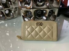 Authentic Chanel Boy Zipped Wallet,Champagne Gold