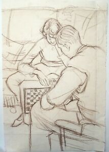 Mary Beresford Williams (b.1931) Graphite study of couple playing chess.