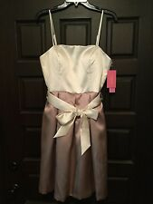 Isaac Mizrahi Ivory & Taupe Spaghetti Strap Cocktail Formal Party Dress (Sz 10)