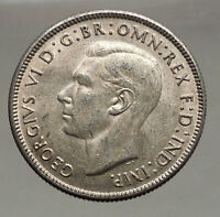 1943 AUSTRALIA - FLORIN Large SILVER Coin King George VI Coat-of-Arms i56677