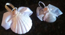 Angel Seashell Ornament Hanging Set of 2: Wired Ribbon White, Cream, Gold, Wood