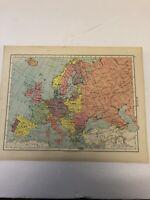 Map 1935: Europe & South Polar Regions Original Vintage Print 85 Years Old Maps