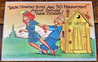 Hillbilly Redneck Humor Postcard Card Outhouse Art Gallery Country Boys Show Off