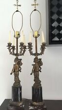 Pair Of Vintage Gilt Cherub Candelabra Lamps Beautiful H 41�