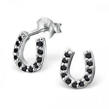 Sterling Silver 925 Black Cubic Zirconia Horse Shoe Stud Earrings