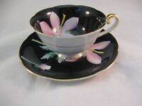 MERITCHINA TEA CUP & SAUCER - VIBRANT HAND PAINTED IN JAPAN- LARGE PINK FLOWERS