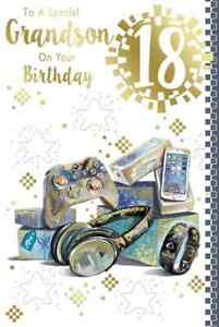 """To a Special Grandson 18th Birthday Card. Great Quality. Large Card 9"""" x 6"""""""