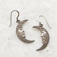 Vintage 925 Sterling Silver Crescent Man in Moon Face Night Hook Earrings