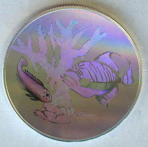 St.Thomas Prince 1998 Coral Fish Hologram 1oz Silver Coin,Proof