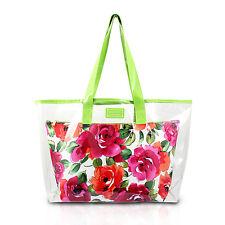 Large Clear Green Shopper Beach Gym Tote Bag Floral White Insert Handbag Purse