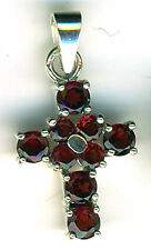 925 Sterling Silver Garnet Cross Pendant  9 genuine round stones Length 1.1/4""