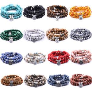 8MM Fashion Natural Stone Bracelet 108 Mala Yoga Reiki Necklaces Charm Jewelry
