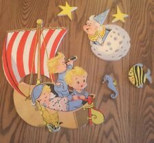 Vintage 1950s Nursery Baby Wall Decor Dolly Toy Co Retro Mid Century Ship Moon
