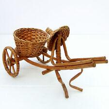 Vintage Retro Bamboo Wicker Cart Planter Plant Holder Basket