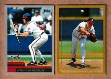 2 JUMBO GREG MADDUX CARDS 1998 TOPPS & 2000 TOPPS 3 1/4 BY 4 1/2