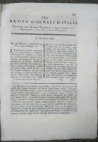 1789 RIVISTA NUOVO GIORNALE D'ITALIA: GESSO NELLE FABBRICHE E CARNE CONGELATA