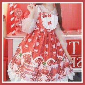 Lady Girl Lolita Dress JSK Jumper Skirts Kawaii Cute Bow Ruffle Japanese Cosplay