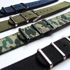 NYLON FABRIC MILITARY WATCH STRAP 18, 20mm Black Blue Green Camo PREMIUM QUALITY