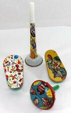 Vintage Lot of 4 Tin Graphic Party Noise Makers