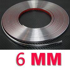 6 mm (0.6 Cm) x15 Metro Coche Estilo Moldeo Tira de Cromo Recortar Adhesivos Decoracion