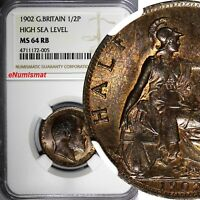 Great Britain Edward VII Bronze 1902 1/2 Penny NGC MS64 RB 1st Year KM# 793.2