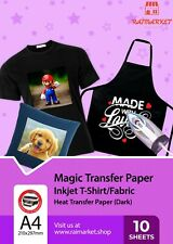 More details for 10x a4 iron on t shirt transfer paper for dark fabric heat press inkjet printer