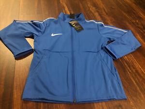 New Nike Youth Park 18 Soccer Full Zip Jacket Size Medium Blue White