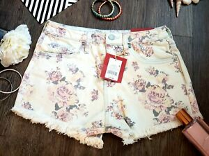Women's Floral Print High-rise Jean Shorts Mossimo Supply Co. Light Wash Size 12