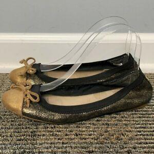 Sperry Women's Ballet Flats Size 8.5 M Leather Elise Black Gold Sparkle Ballet
