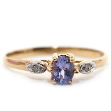 GENUINE NATURAL DIAMOND TANZANITE 0.45CT SOLID 14K YELLOW GOLD RING - SZ 8