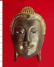 Thai Buddha Face Image     Wood/Gold     Carved Wooden Sculpture