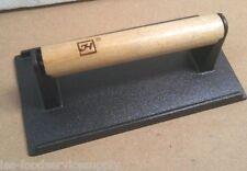 "Restaurant Steak Weight Cast Iron Wood Handle - New 4"" X 8"" Bacon Sausage Press"